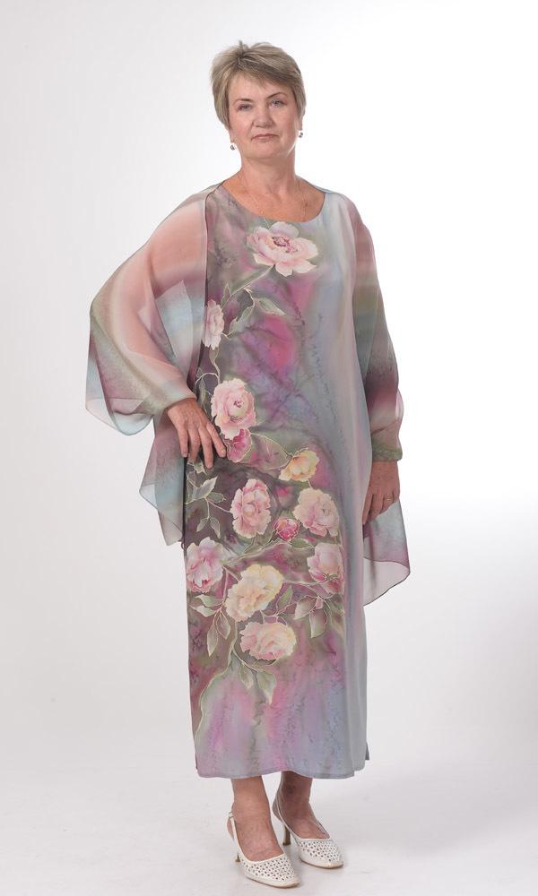 Платье Пионы бордо Р-01