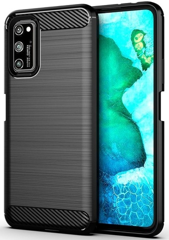 Чехол (клип-кейс) черного цвета для Huawei Honor V30 и V30 Pro, серии Carbon от Caseport