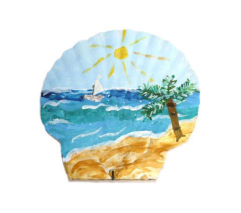 Рисунок моря на ракушке Дальневосточный морской гребешок