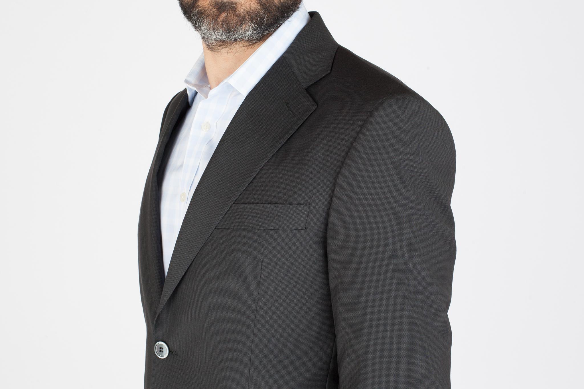 Чёрно-серый костюм из 100%-ной шерсти, нагрудный карман