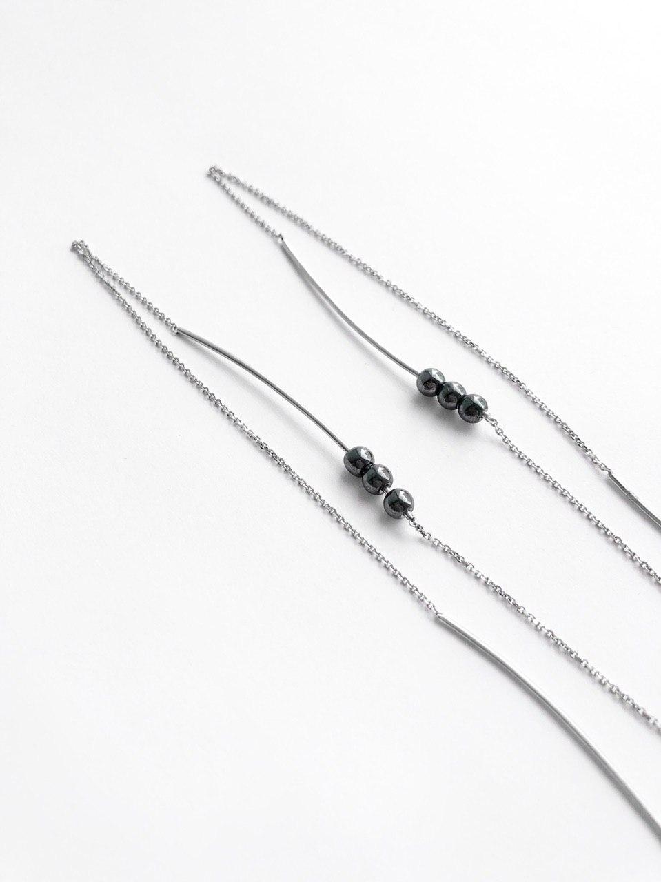 Серебряные серьги продевки с гематитом