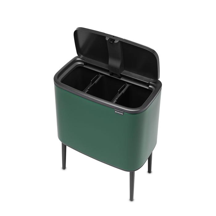 Мусорный бак Touch Bin Bo (3 х 11 л), Зеленая сосна, арт. 304200 - фото 1