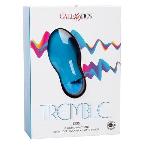 Голубой мини-вибратор Tremble Kiss - 12 см.