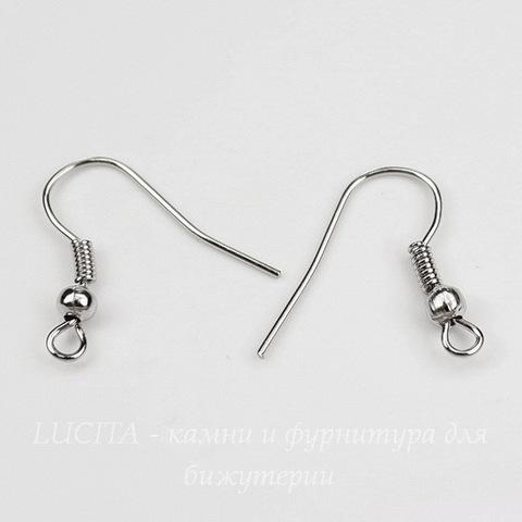 Швензы - крючки с шариком и пружинкой, 18 мм (цвет - платина), 5 пар