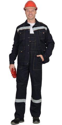 Костюм  куртка, полукомбинезон синий с СОП (100% узбекская саржа)