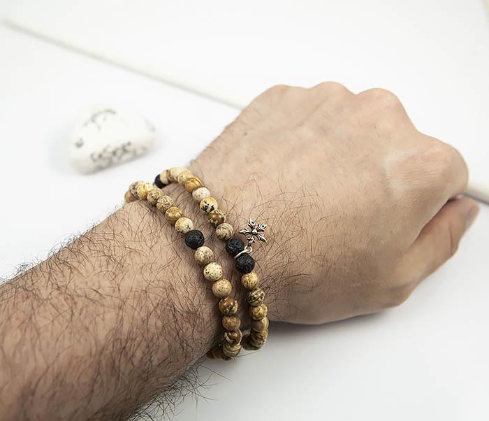 BSS125 Красивый мужской браслет из камня ручной работы со звездой (20 см) фото 05