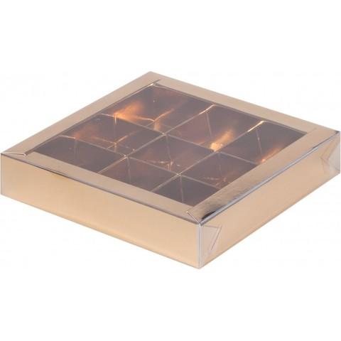Коробка под 9 конфет с крышкой 16*16*3см, золото