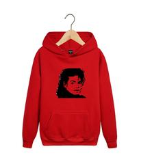 Толстовка красная с капюшоном (худи, кенгуру) и принтом Майкл Джексон (Michael Jackson) 002