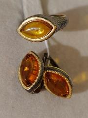 Цефея м/овал (кольцо + серьги из серебра)