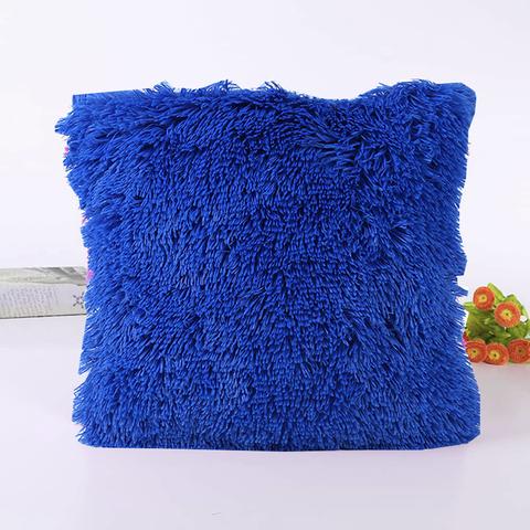 Подушка интерьерная с длинным ворсом лазурного цвета