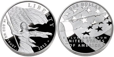 1 доллар 2012 год. Флаг США Свобода. США. Серебро. PROOF