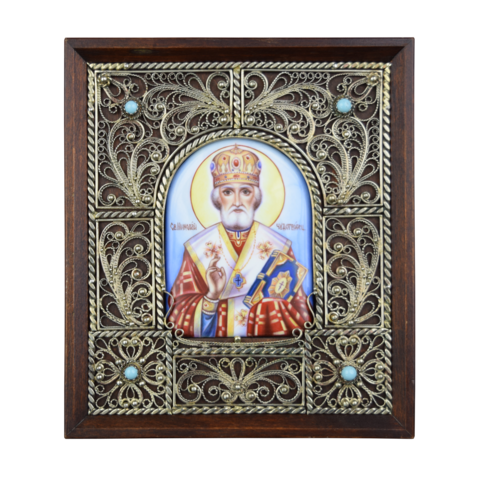 Икона финифть Святой  Николай Чудотворец