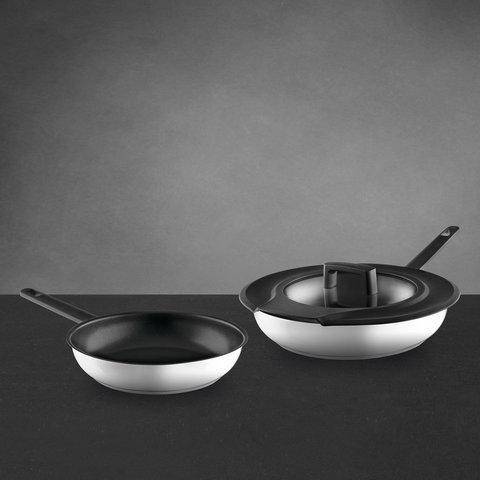 3пр набор сковород Downdraft (24см с антиприг. покрытием, 28см без покрытия, и универсальная крышка)