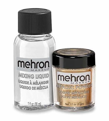 MEHRON Металлическая пудра-порошок Metallic Powder (5 г) с жидкостью для смешивания Mixing Liquid (30 г), Gold (Золото)