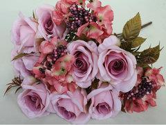 Розы искусственные с гортензией и горошком, евро букет 12 голов, 53 см.
