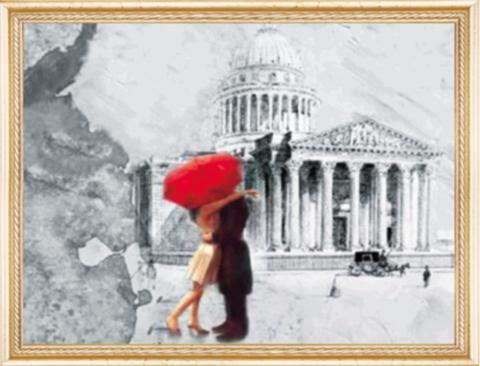 Алмазная Мозаика 40x50 Поцелуй за красным зонтом
