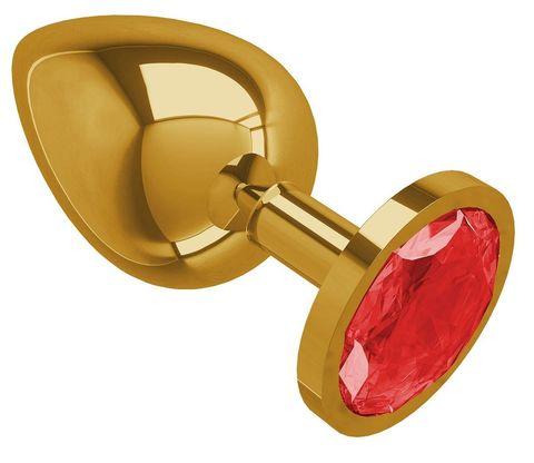 Золотистая большая анальная пробка с красным кристаллом - 9,5 см.