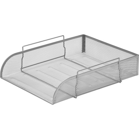 Лоток для бумаг горизонтальный Attache (металлическая сетка, высота 83 мм, серебро)