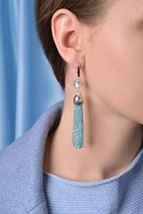 Серьги из бисера серебристо-голубые