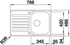Мойка Blanco Lantos 45S-IF Compact - схема