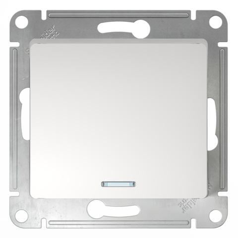 Выключатель одноклавишный с подсветкой, 10АХ. Цвет Белый. Schneider Electric Glossa. GSL000113
