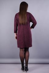 Берта. Женское платье больших размеров. Бордо.
