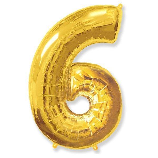 Фольгированная цифра 6, золото