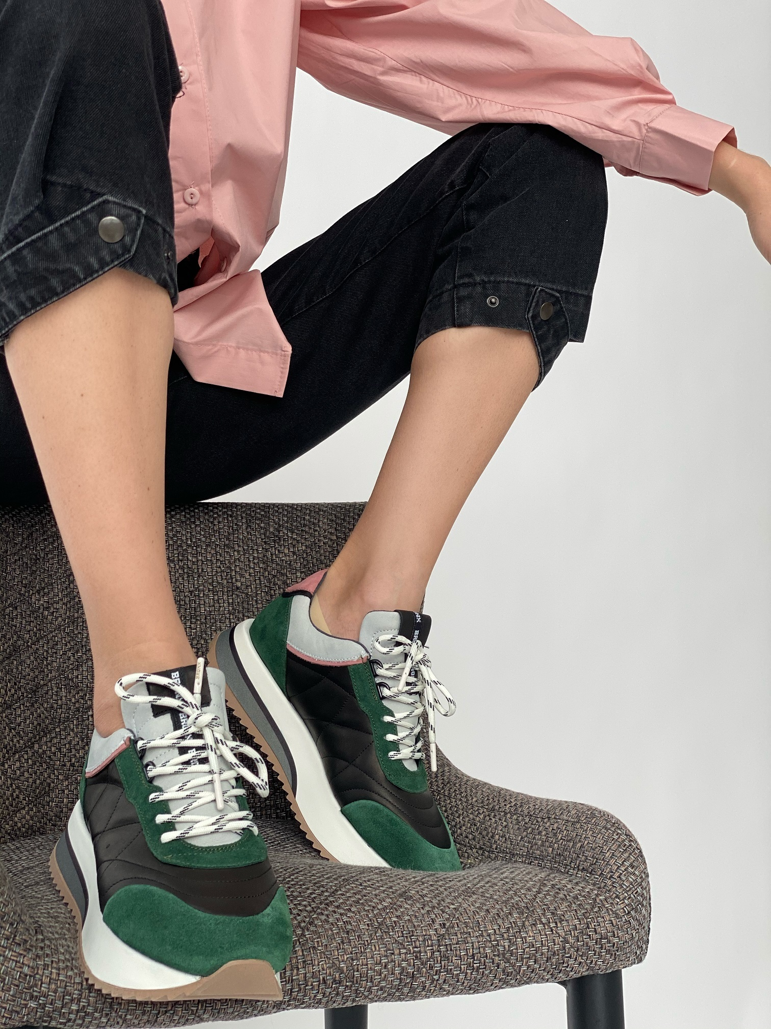 Кроссовки женские, BRONX, Nola Isa (черный с зеленым)