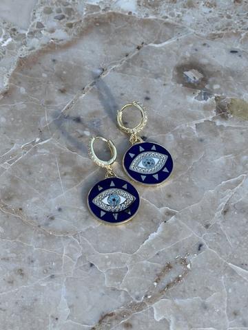 Серьги Око из позолоченного серебра, синяя эмаль