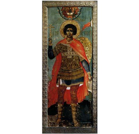 Икона святого Георгия Победоносца с молитвой на дереве на левкасе мастерская Иконный Дом