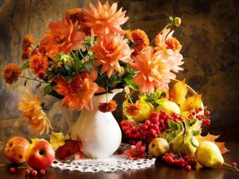 Алмазная Мозаика 20x30 Цветы в вазе и фрукты