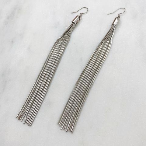 Серьги кисточки из цепочек серебряный