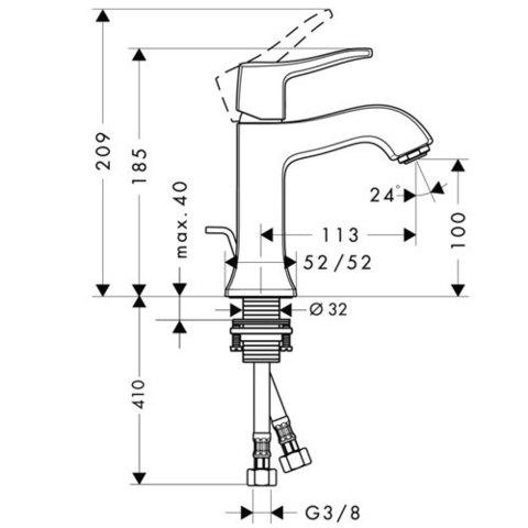 Смеситель для раковины Hansgrohe Metris Classic , однорычажный , хром 31075000 схема