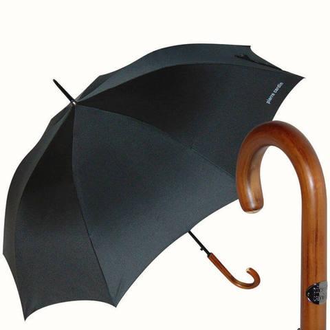 Классический зонт-трость с ручкой из дерева