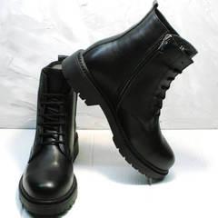 Грубые ботинки осенние женские Misss Roy 252-01 Black Leather.
