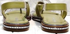 Кожаные босоножки женские без каблука Evromoda 454-411 Olive.