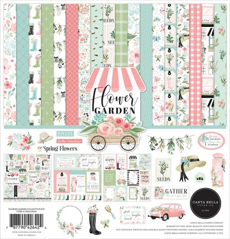 Набор листов двухсторонней бумаги с одним листом стикеров Carta Bella paper co - FLOWER GARDEN - 30x30см