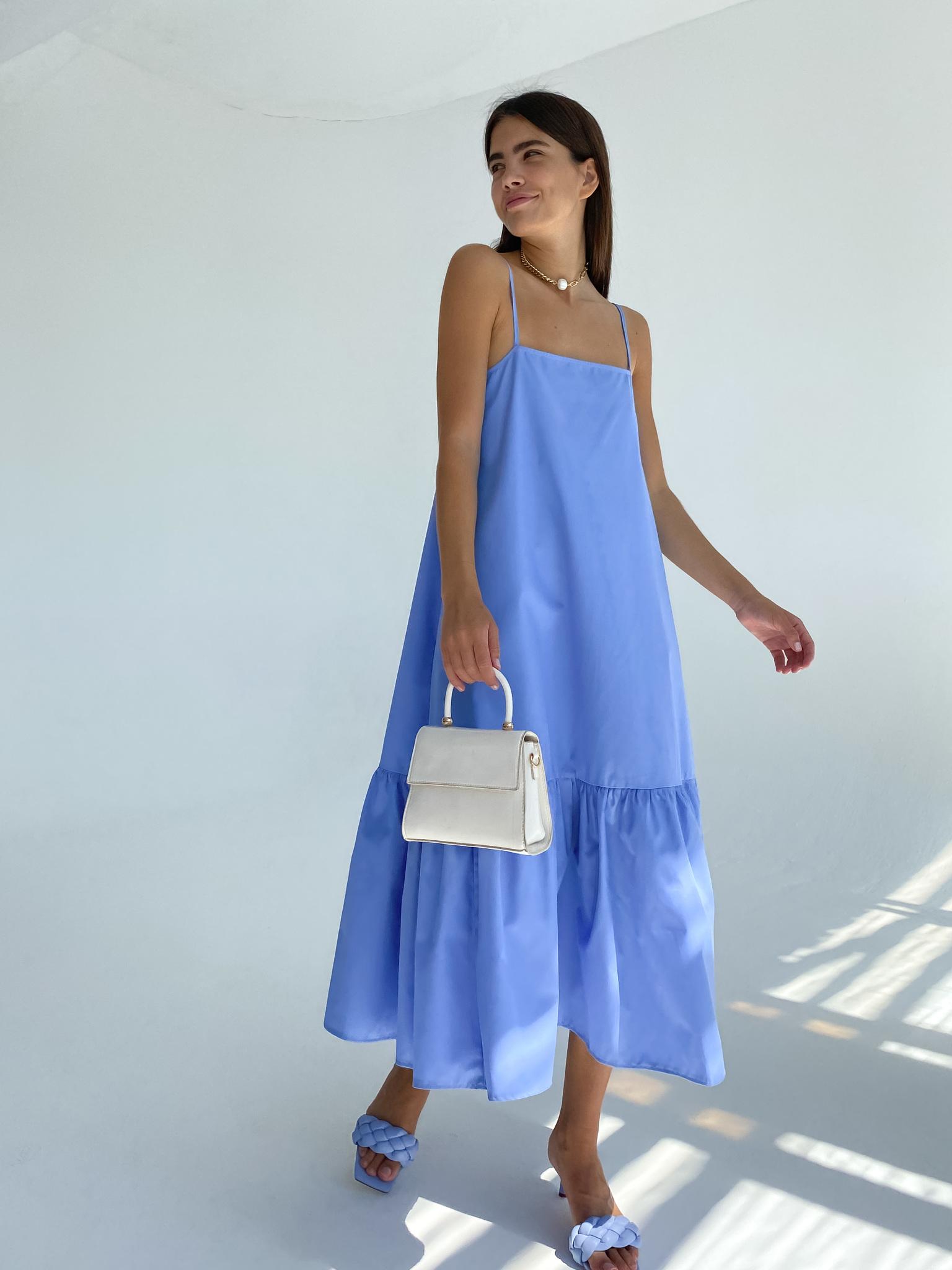 Платье-трапеция из хлопка (голубой)