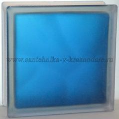 Стеклоблок матовый синий Vitrablok 19x19x8 окрашенный изнутри