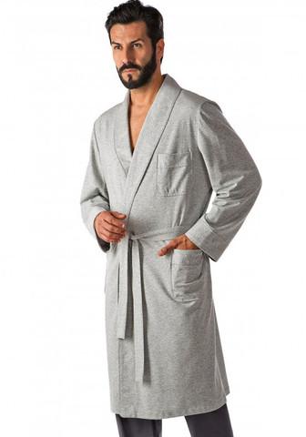 Трикотажный однотонный мужской халат