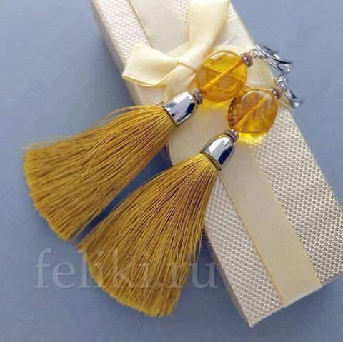 серьги-кисточки жёлтые с балтийским янтарём