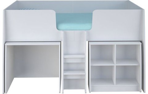 Кровать-чердак детская Polini kids Simple 4100 с выдвижными элементами, белый