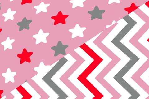 """Постельное белье """"Звёзды белый,графит, красный, фон лаванда - зигзаги графит, лаванда, красный"""""""