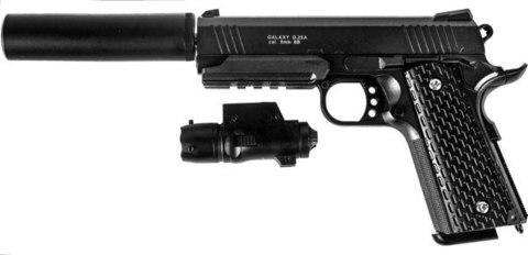 Страйкбольный пистолет Galaxy G.25A COLT1911PD с глушителем металлический, пружинный