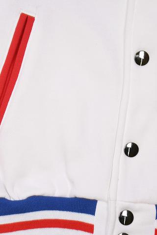 Бомбер белый на кнопках фото кнопки