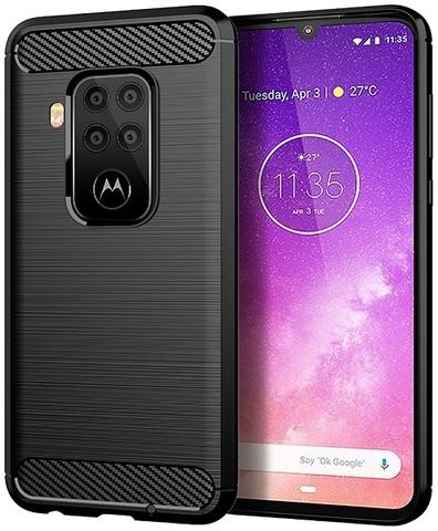 Чехол для Motorola Moto One Pro (One Zoom/P40 Note) цвет Black (черный), серия Carbon от Caseport