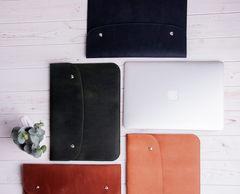Синий кожаный чехол Gmakin для MacBook на кнопках