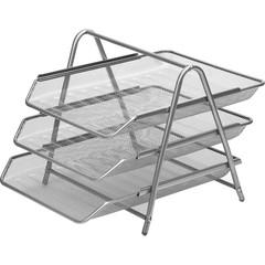 Лоток для бумаг горизонтальный Attache (3 секции, металлическая сетка, высота 267 мм, серебро)