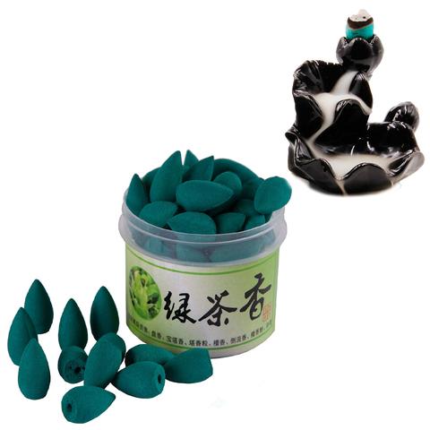 Благовония Пуля стелющийся дым  Свежесть утра Зеленый чай более 45шт