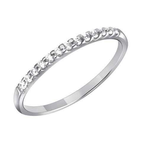 01К1211780 - Кольцо из белого золота 585 пробы с дорожкой из фианитов